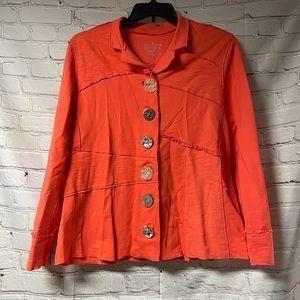 Neon Buddha jeweled orange blazer size XL